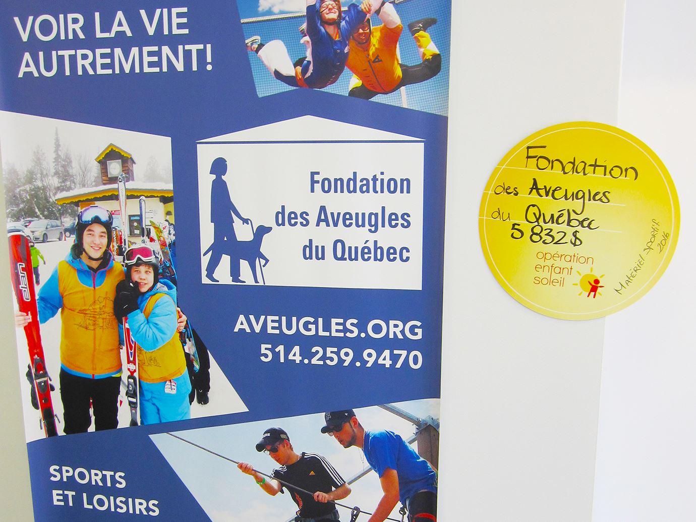 Don d'Opération Enfants Soleil 2016 -visuel fondation et macaron don 5 832 $
