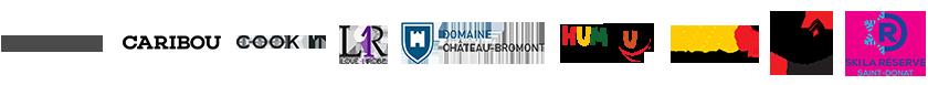 Logo des partenaires T'as rien vu: Dinette, Caribou, Cook it, Loue Robe, Domaine Château Bromont, Gala Humour Aveugle, Via Rail, Ski Garceau, Ski La Réserve