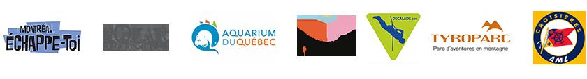 Logos des partenaires Décalade: Montréal échappe-toi, Polar Bear's Club, Aquarium du Québec, T-surprise, Décalade.com, Tyroparc, Croisières AML, pour le Défi T'as rien vu