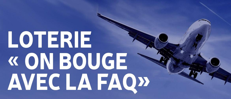 """Entête de Loterie """"On bouge avec la FAQ"""" montrant un avion"""