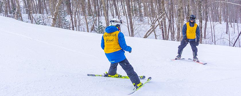 Ski La Réserve 2018 - skieur et guide sur la pente