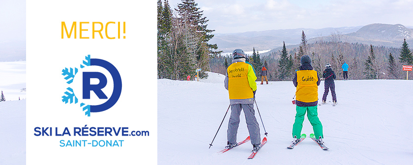 Ski La Réserve 2018 - Skieurs de dos - Merci - Logo Ski La Réserve