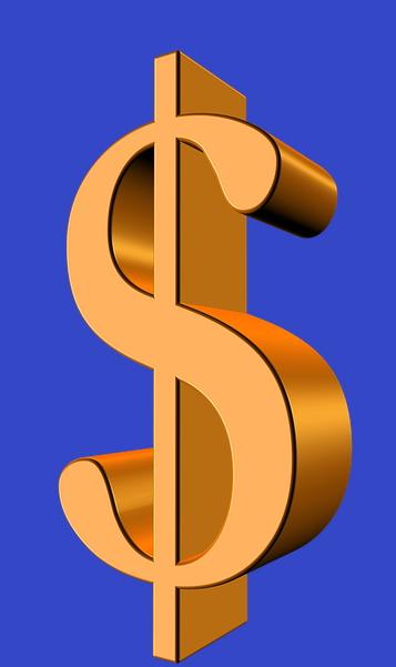 Image associée à Faire un don - Signe de dollar doré sur fond bleu