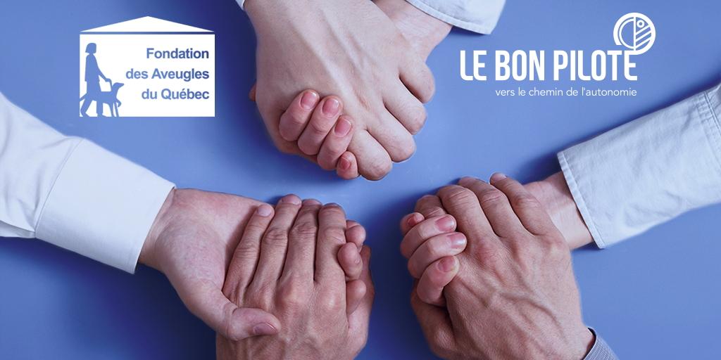 Logo Le Bon Pilote et ancien logo FAQ avec mains jointes partenariat