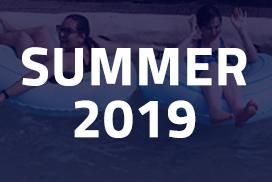 Blue pointed square flag Summer 2019 Calendar