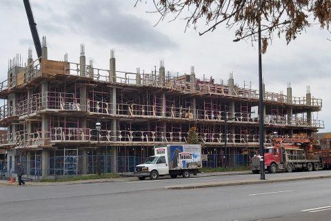 Photo de l'avancement de la construction de notre immeuble sur la rue Sherbrooke