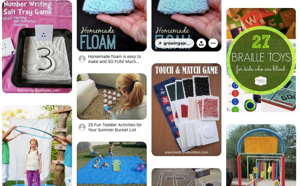 Une capture d'écran de la page Pinterest suggérant plusieurs activités dont 27 jeux en braille, un jeu de mémoire fait à la maison et des idées de jeux extérieurs.