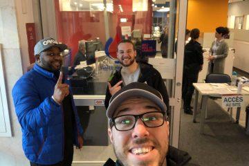 Photo de Steve, Alexandre et Dominic à Héma-Q!uébec