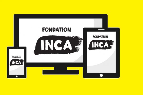 Dessin d'un écran d'ordinateur, d'une tablette et d'un cellulaire avec le logo de la Fondation INCA sur l'écran
