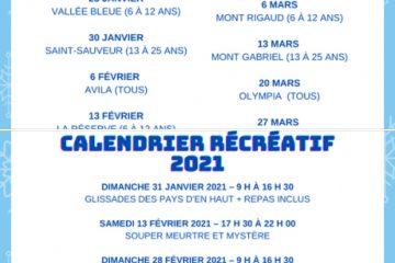 Description de l'image : Un descriptif des dates de sorties de ski et des activités récréatives